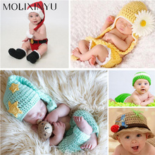 MOLIXINYU Baby Knitting Cute Photography Suit Baby Girl Clothing Newborn Photography Props Baby Hat Newborn Crochet Outfits(China)