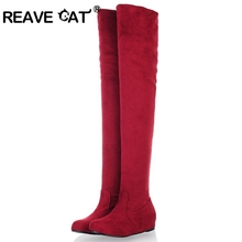 REAVE CAT Women Boots 2016 Autumn Winter Ladies Fashion Flat Bottom Boots Shoes Over The Knee Thigh High Suede Long Boots RH950