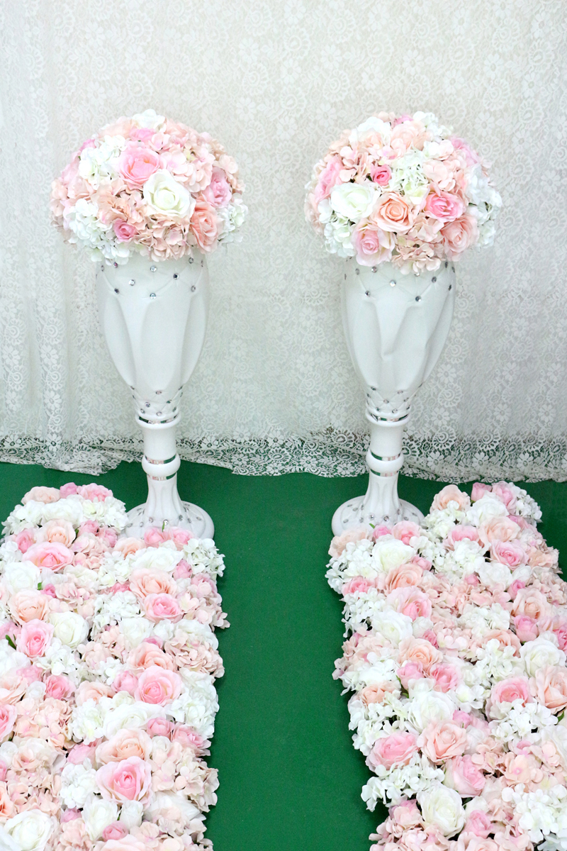 JAROWN Artificial Wedding Flower Ball Simulation Rose Hydrangea Flowers Hemisphere Roman Column Decor Home Party Decor Flores (7)