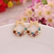 2016 New Fashion Jewelry Designer Colorful Rhinestone Butterfly Bow Earrings Female Brincos Earring Stud Women Post Earrings(China)
