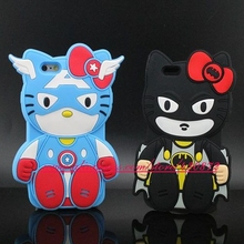 Funny 3D Silicon Hello Kitty Captain Batman Cartoon Soft Cell Phone Back Case Cover for iphone 5 5s/6 6S/6 Plus 6S Plus