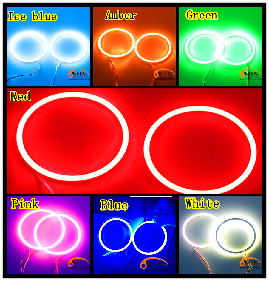 Red Pink White Blue Car Styling Daytime running Lights 70mm  Nwe High Power Front Lamp Lamp COB LED Market  Angle eyes 1PCS<br><br>Aliexpress