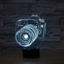 Camera Christmas Gift 3D Night Light Table Lamp 7 Color Dimming illusion LED lamp Children Toys For Birthday Party