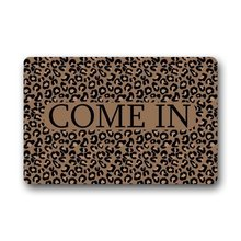 Generic Machine Clean Fabric Non-Slip Rubber Backing Durable Indoor Doormat Door Mats Come In Leopard Print Dark Brown Design
