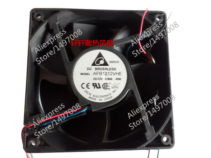 Free Shipping For DELTA  AFB1212VHE, -R00  DC 12V 0.90A, 120x120x38mm 90mm 3-wire  Server Square fan<br>