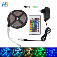 HBL 5M 10M LED Strip light rgb Waterproof 15M 20M SMD 2835 RGB LED Light+DC12V adapter+24Key IR Remote controller full set