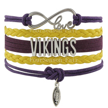 Customizable-Infinity Love NFL Minnesota Vikings Football Team Name Bracelet  Pruple with Yellow Braid Leather-Drop Shipping