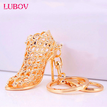 Gifts High Heel Keychains stone Shoe Keyring cute Women Handbag key holder Girl Bag Pendant Jewelry Christmas party(China)