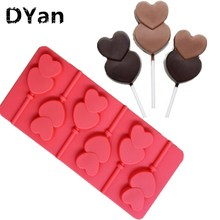 New Cake Chocolate Baking Lolly Pop Lollipop Mould Heart Bowknot Candy Lce Mold A058(China)