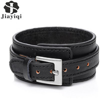 Jiayiqi 2017 Punk Genuine Leather Bracelet Men Vintage Wide Cuff Bangles Adjustable Buckle Wristband Male Jewelry Black & Brown(China)