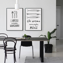 Black And White Painting Tableware Kitchenware Food Phrases Poster Image A4 Art Print Canvas Living Room Kitchen Decoration