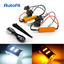 2X T20 W21W CAN BUS LED Day Light LED Car White/Amber Dual Color Switchback Daylight DRL Turn Signal Light Canbus Error Free(China)