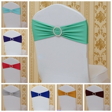 20 colours spandex sashes with round buckles for chair covers wedding chair decoration sashes lycra stretch band ribbon bow tie(China)