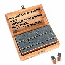 Korea Stationery Digital Alphabet Stamp Seal Built 70 Wooden Box With Wooden Box And Without The Optional Two Prices