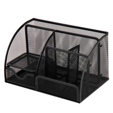 Black Metal Mesh Multi-functional Home Office Desk Supplies Stationery Pen Storage Organizer Holder Stand
