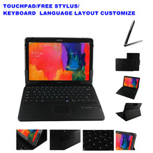 2 Free Gifts Wireless Touchpad Bluetooth Keyboard Case for Samsung Galaxy Tab Pro 12.2 P900 Keyboard Language Layout Customize