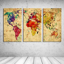 Moderne 3 PCS Coloré Carte Du Monde Wall Sticker Affiche Vintage Toile Peinture À L'huile Cuadros Salon Décor Café Bar Design la maison(China)