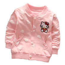Baby girls spring coat Cartoon Hello Kitty spring and autumn clothes children outerwear,girls cotton warm hoodies kids clothes