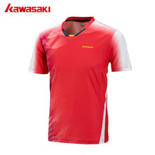 Kawasaki Men Badminton Soccer T-Shirt V Neck Quick Dry Professional Table Tennis T Shirts Short Sleeve Sports Clothes ST-171016