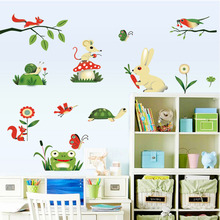 2016 New frog small insects gathering Nursery wall stickers cartoon children's room decoration stickers removable waterproof(China)