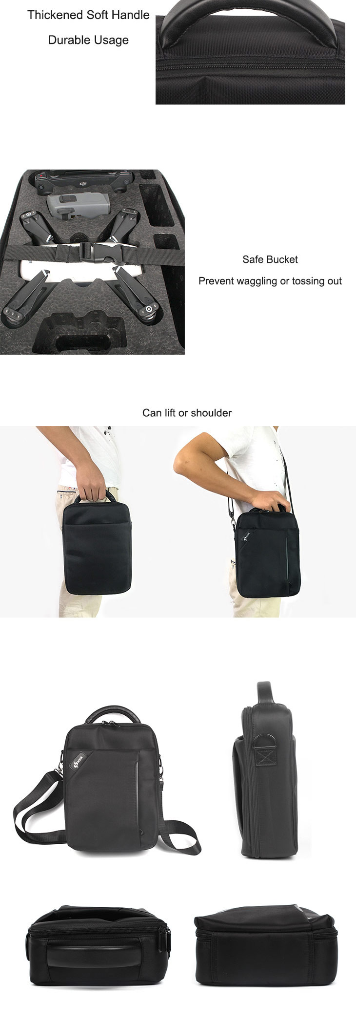 Hand Bag Shoulder Bag with Strap Waterproof Scratchproof EPP Lining for DJI SPARK Aircraft & Remote Controller