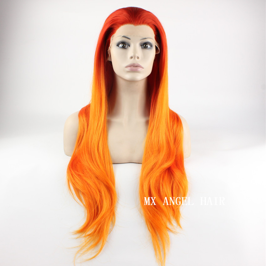 Cheap Extra Long Two Tone Orange Color Straight Synthetic Lace Front Wig High Quality Natural Heat Resistant Kanekalon Wigs<br><br>Aliexpress