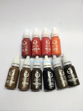 Free Shipping 10Pcs Permanent Makeup Tattoo Ink Pigment 15ml/Bottle For Eyebrow Makeup 23 Colors For Choose