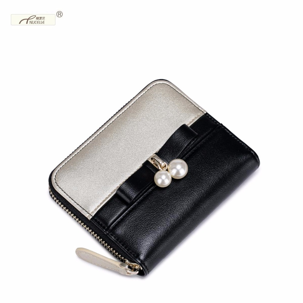 Nucelle Brand Design Fashion Pearls Bowknot Color Blocking PU Leather Zipper Women Lady Wallet Mini Coin Purses Gift For Girl<br><br>Aliexpress