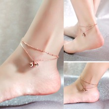 1Pcs New Fashion Women Double Layer Small Bell Anklets Foot Decorative Chain Charm Jewelry Gift For  Girls
