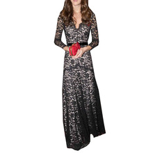 Europe And The United States Spring And Autumn V-Neck women plus size lace dresses 4xl 5xl 6XL Clothing M-6XL CM3058