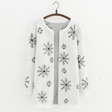 2017 Autumn and  winter Female Sweater Coat  Snowflake pattern Long Round Collar Knit Cardigan Women Sweater