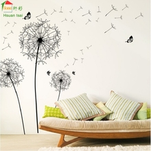 Black Dandelion flower love Vinyl Wall Stickers Home Decor Art Decals Wallpaper Bedroom Sofa house decoration adesivo de parede(China)