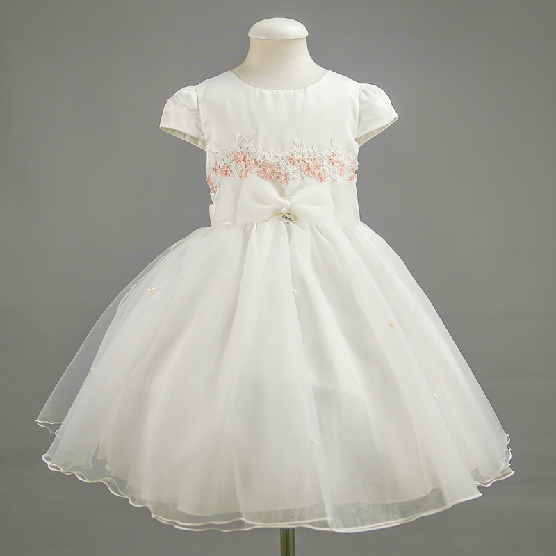 Nimble Girl Flower Princess Bow Dress Wedding Party Appiques Flower Organza Dress<br><br>Aliexpress