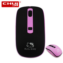 Wireless Mouse 2.4GHz Optical Gaming Mouse 1600 DPI Computer Mice with USB Receiver Hello Kitty Pattern Mause for Child Gift