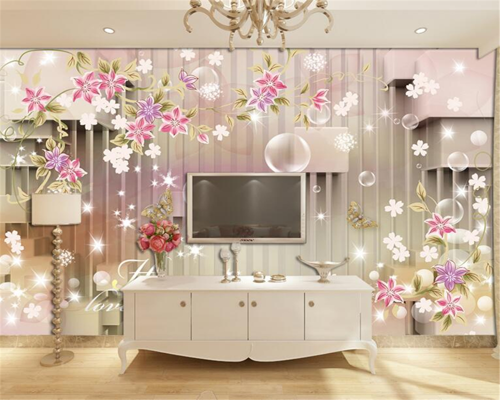 papel de parede Simple flower stripes 3D cube plaza flowers mural 3d wallpaper living room bedroom decoration wallpaper for wall<br><br>Aliexpress