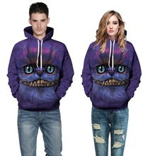 Adogirl Women Purple Autumn Sweatshirt Cheshire Cat Print Hoody Pullovers 2016 New Men Hooded Sweatshirt Lovers Big Size Hoodies(China)
