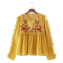 Chic O neck Embroidery flower Wood ears Shirt 2017 New Woman Ruffles Sleeve Chiffon Blouse Femme Back Buttons Tops Yellow(China)