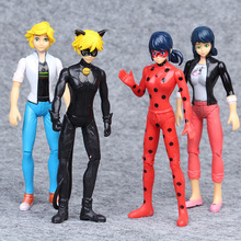 4pcs/lot Miraculous Ladybug Comic Lady bug Girl Doll Action Figure Toys with light Birthday Gifts Toys for Children