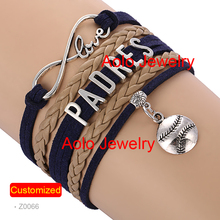 6Pcs/Lot SAN DIEGO Baseball Infinity Bracelet NAVY/LIGHT BROWN Make Your Own Design Free Shipping(China)
