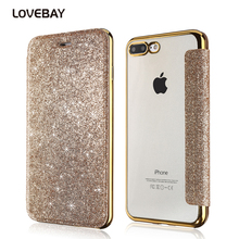 Lovebay Phone Case For iPhone 7 6 6s Plus Bling PU + Soft TPU Glitter Powder Flip Clear Back Cover Card Slot Transparent Cases