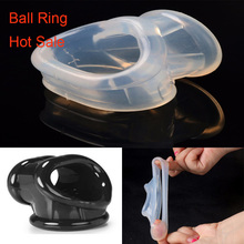 Buy Male Scrotal Binding Cock Ring Sex Toys Silicone Time Delay Penis Ring Scrotum Bondage Ring Chastity Cage Penis Sleeve Men