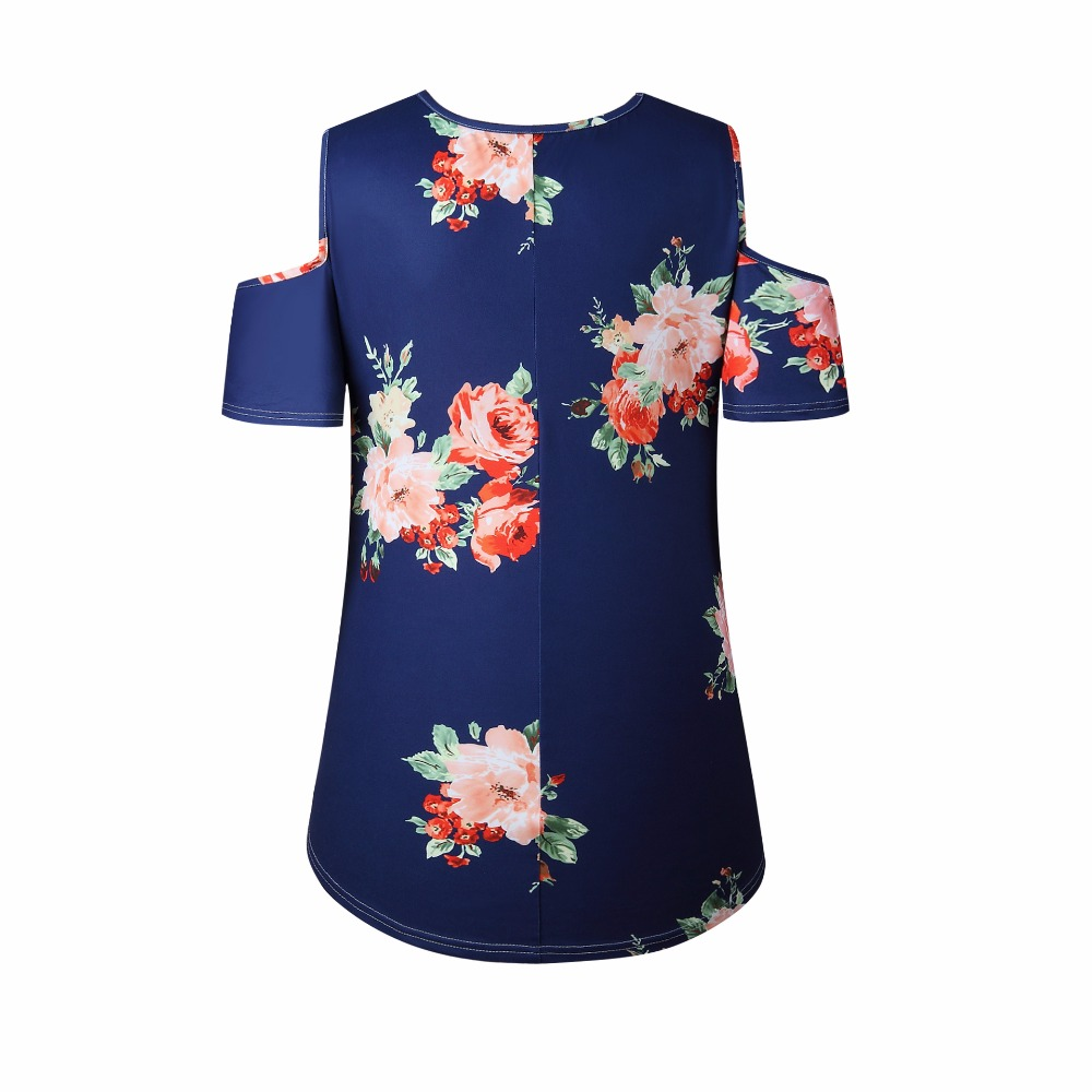 New 2018 Spring Summer Tops Women Short Sleeve Sexy Casual T-shirt Print Slim Off Shoulder T-shirt Flowers Print Tops T-shirt 19