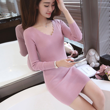 2017 Women Autumn Winter Knitted Dress Sexy Slim Bodycon Mini Sweater Dress V Neck Long Sleeve Solid Casual Club Party Dresses
