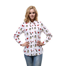 2017 Summer women shirt cotton print shirt casual women Lipstick perfume print blouses camisa feminina plus size women tops(China)