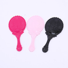 High Quality Vintage Cosmetic Mirror Plastic Makeup Mirror Hand Mirror for Cute Girl Black Hand Shank Mirror espelho 17.3*7.7cm