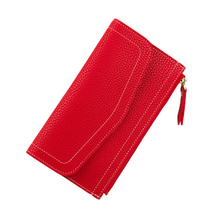 Women Wallets Long PU Leather Coin Purse Zipper Ladies Clutch Money Phone Bag Women's Thin Card Holders Slim Woman Wallet Red(China)
