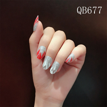 New Fashion Cross Glitter Sticker Decal Water Transfer Sticker Nail Art Decals DIY Decor Temporary Tattoo Red Silver 1 PCs(China)