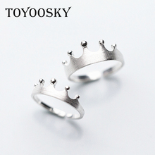 TOYOOSKY Men Women Crown Love Silver Couple Rings Brushed Wire Drawing Style s925 Sterling Silver Adjustable Jewelry(China)