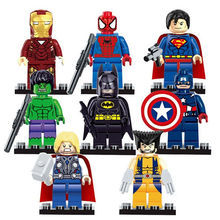 8Pcs/set Marvel Avengers Super Hero Building Blocks Sets Bricks Superman Iron Man Hulk Batman Compatible Legoes for Children Toy