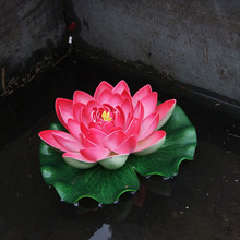 2PCS Floating Artificial Lotus Ornament Aquarium Fish Tank Pond Water lily Lotus Artificial Flowers Home Decoration 2D(China)